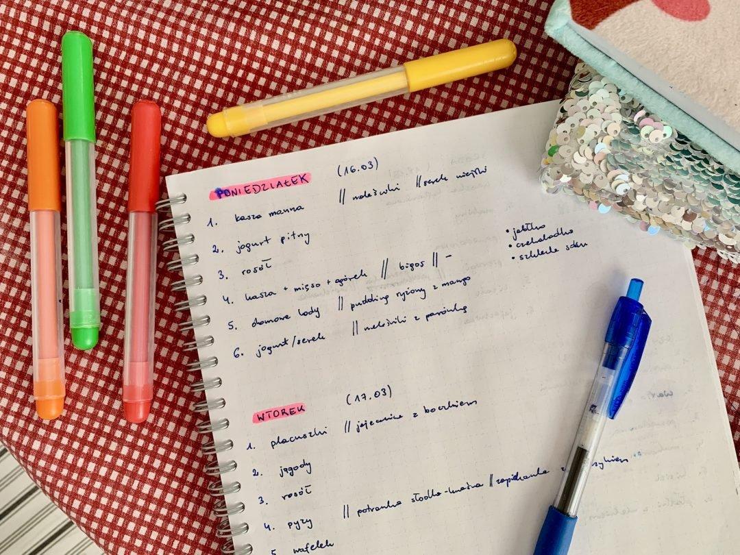 jak zaplanować posiłki na cały tydzień